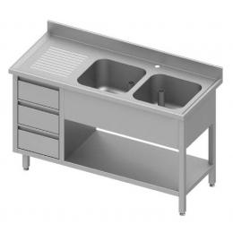 Table adossée avec double cuves à droite + meuble à trois tiroirs et étagère