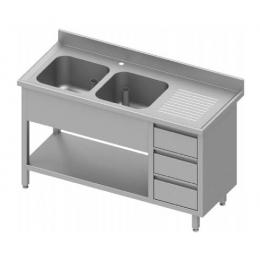 Table adossée avec double cuves à gauche + meuble à trois tiroirs et étagère