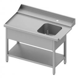 Table adossée de chargement à gauche avec étagère pour lave-vaisselle à capot