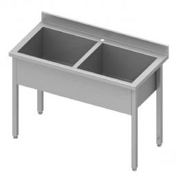 Table inox avec 2 bacs