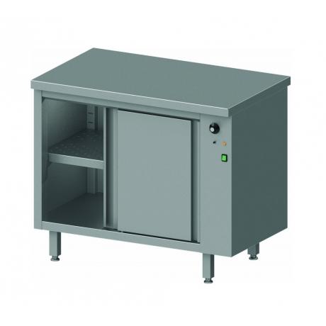 Table centrale avec placard chauffant et portes coulissantes