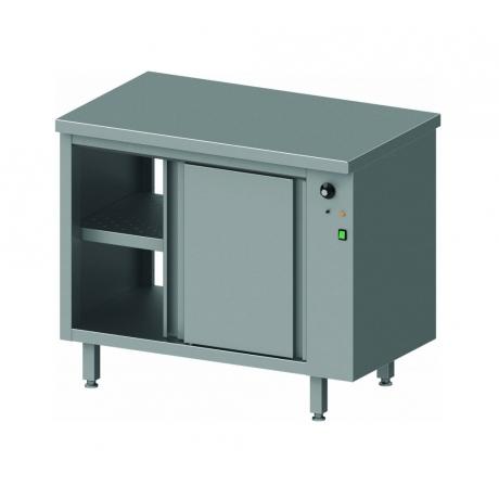 Table traversante avec placard chauffant et portes coulissantes