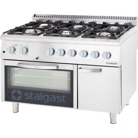Cuisinière à gaz 6 brûleurs avec four statique