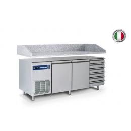 Table réfrigérée positive avec top en granite et tiroirs 400 L