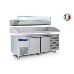 Table réfrigérée positive avec vitrine réfrigérée et tiroirs 400 L