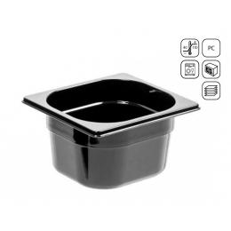 Bac GN 1/6 en polycarbonate noir premium 176x162 mm