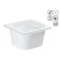Bac GN 1/6 en polycarbonate blanc premium 176x162 mm