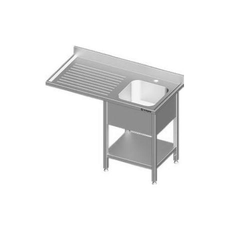 Plonge adossée en inox avec un évier et espace pour lave-vaisselle