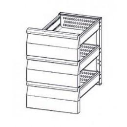 Accessoire elément en INOX à 2 tiroirs refrigerés (1/3+1/3+1/3) pour tables Mod. Gastronorm