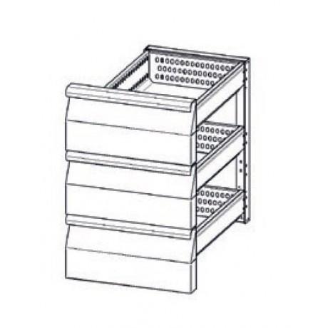Accessoire elément en INOX à 2 tiroirs refrigerés (1/3+1/3+1/3) TN pour tables Mod. Snack