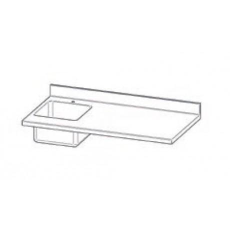Top en INOX avec plonge (50x40 cm) avec dosseret pour Mod. Gastonorm Traditionnel 2 portes