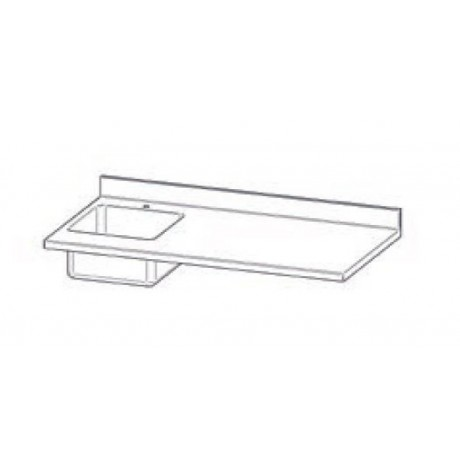 Top en INOX avec plonge (50x40 cm) avec dosseret pour Mod. Gastonorm Traditionnel 3 portes