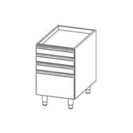Elément en INOX à tiroirs non refrigerés avec n. 3+1 tiroirs et n. 4 pieds en INOX