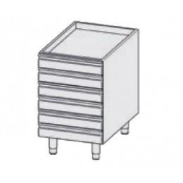 Elément en INOX à tiroirs non refrigeré avec n. 6 tiroirs et n. 4 pieds en INOX