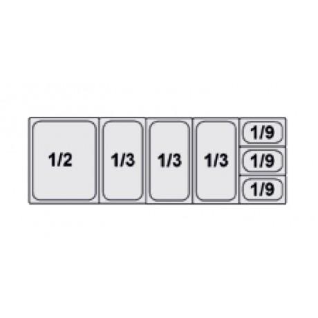 Composition vitrine pizza Mod. 1450 (1/2+1/3+1/3+1/3+1/9+1/9+1/9)