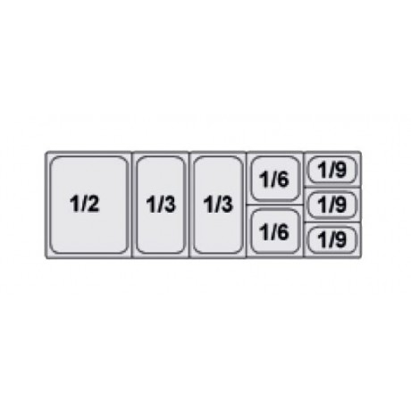 Composition vitrine pizza Mod. 1450 (1/2+1/3+1/3+1/6+1/6+1/9+1/9+1/9)