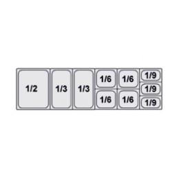 Composition vitrine pizza Mod. 1600 (1/2+1/3+1/3+1/6+1/6+1/6+1/6+1/9+1/9+1/9)