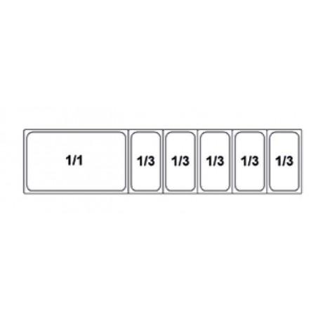 Composition vitrine pizza Mod. 1800 (1/1+1/3+1/3+1/3+1/3+1/3)