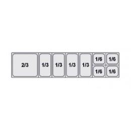 Composition vitrine pizza Mod. 1800 (2/3+1/3+1/3+1/3+1/3+1/6+1/6+1/6+1/6)