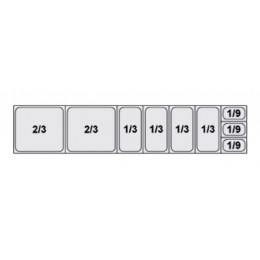 Composition vitrine pizza Mod. 2000 (2/3+2/3+1/3+1/3+1/3+1/3+1/9+1/9+1/9)