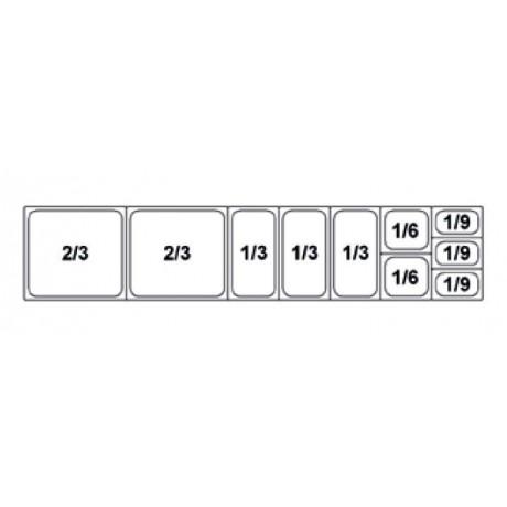 Composition vitrine pizza Mod. 2000 (2/3+2/3+1/3+1/3+1/3+1/6+1/6+1/9+1/9+1/9)