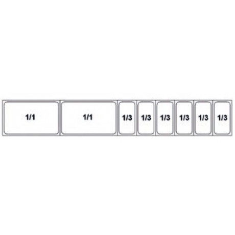 Composition vitrine pizza Mod. 2500 (1/1+1/1+1/3+1/3+1/3+1/3+1/3+1/3)