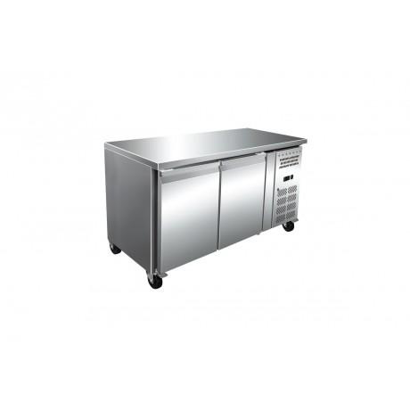 Table réfrigérée boulangerie 2 portes avec plan de travail en Inox (-2°C/+8°C)