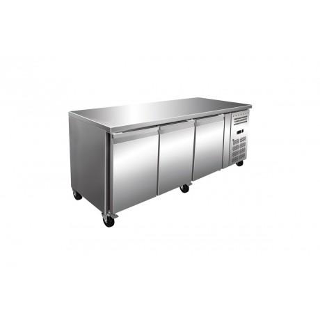 Table réfrigérée boulangerie pâtisserie 3 portes avec plan de travail en Inox (-2°C/+8°C)